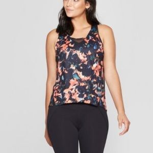 Joy Lab Floral & Black Tank Top with Mesh Inserts